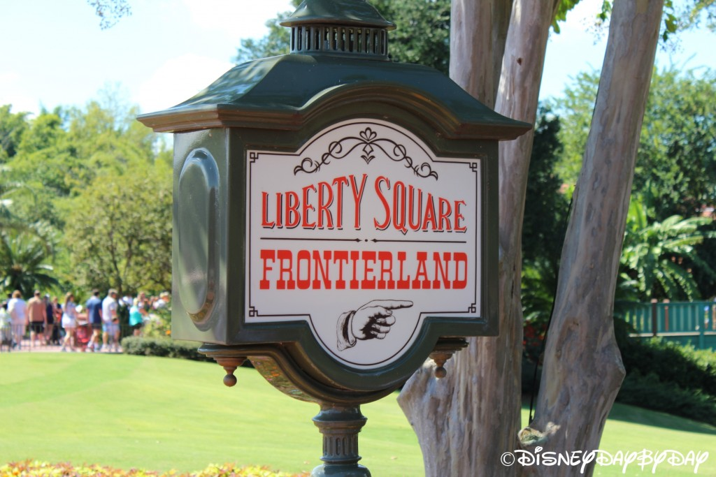 Liberty Square and Frontierland Sign Magic Kingdom