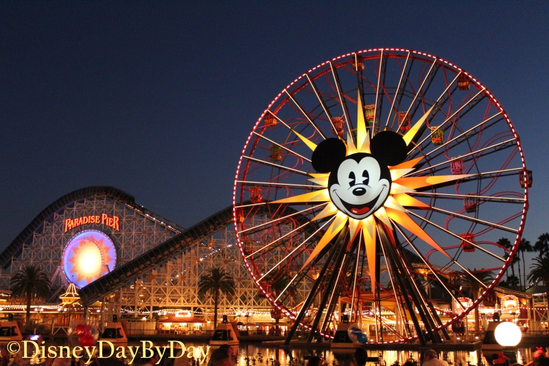 Paradise Pier at Dusk - DisneyDayByDay