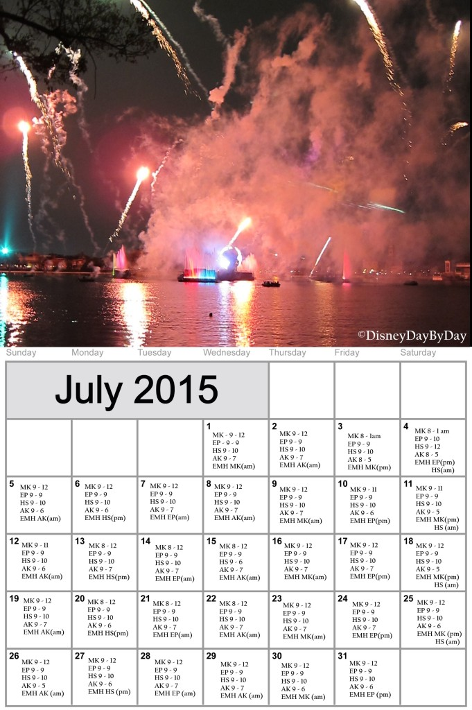 Disney World Calendar - July 2015 - DisneyDayByDay