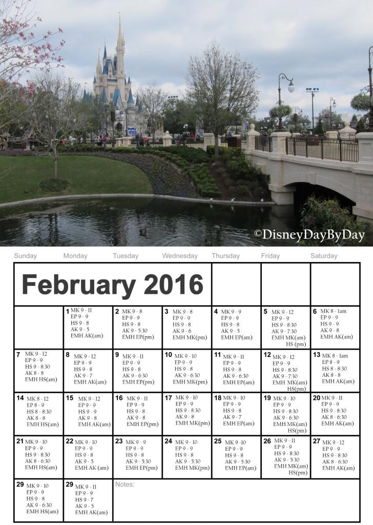 Walt Disney World February 2016 Calendar - DisneyDayByDay